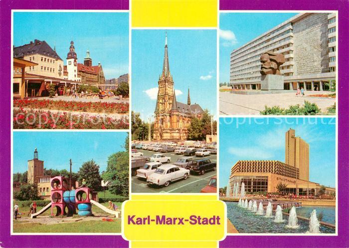 AK / Ansichtskarte Karl Marx Stadt Rathaus Rosenhof Theaterplatz Karl Marx Monument Stadthalle Interhotel Kongress Kat. Chemnitz