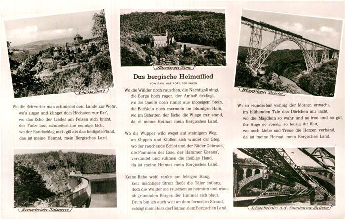 AK / Ansichtskarte Liederkarte Das bergische Heimatlied  Kat. Musik
