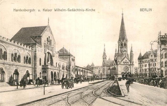 AK / Ansichtskarte Berlin Hardenbergstrasse und Kaiser Wilhelm Gedaechtnis Kirche Kat. Berlin