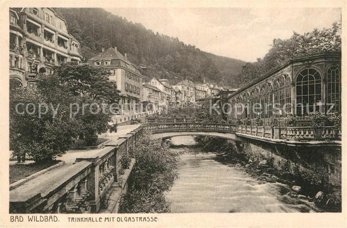 AK / Ansichtskarte Bad Wildbad Trinkhalle mit Olgastrasse an der Enz Kat. Bad Wildbad
