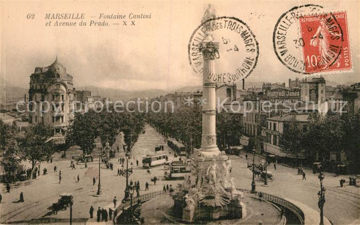 AK / Ansichtskarte Marseille Bouches du Rhone Fontaine Cantini et Avenue du Prado