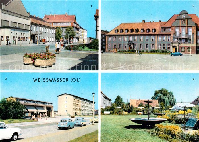 AK / Ansichtskarte Weisswasser Oberlausitz Muskauer Strasse Rathaus Wohnkomplex Humboldtstr Anlagen Kat. Weisswasser