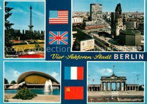 AK / Ansichtskarte Berlin Funkturm Gedaechtniskirche und Europa Center Kongresshalle Brandenburger Tor Kat. Berlin