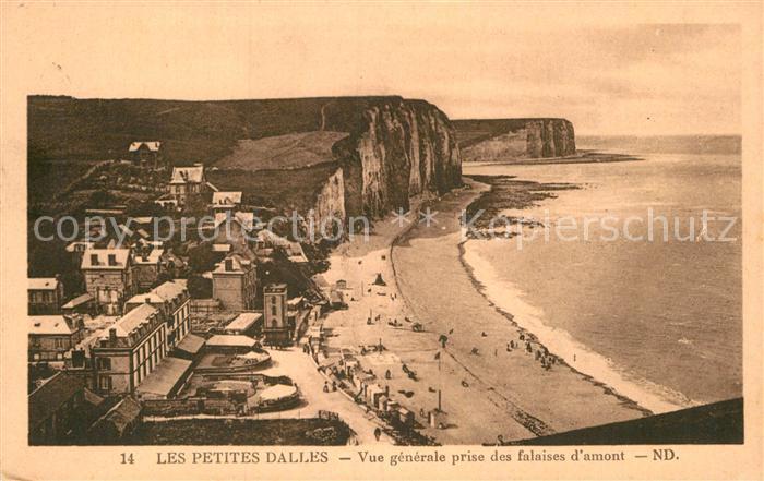AK / Ansichtskarte Les Petites Dalles Vue generale prise des falaises d amont Strand Steilkueste Kat. Cote d Albatre