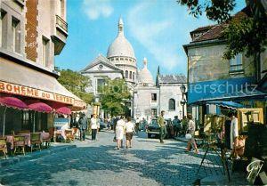 AK / Ansichtskarte Paris Montmartre La place du Tertre Le Dome du Sacre Coeur Kat. Paris