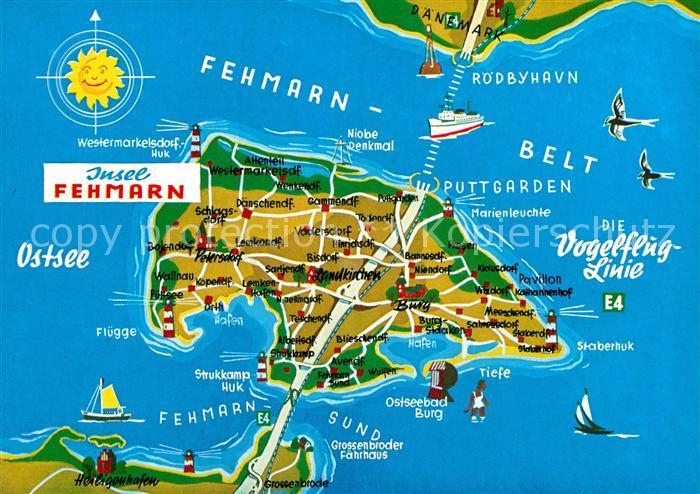Ak Ansichtskarte Fehmarn Landkarte Kat Fehmarn Nr Kc91542