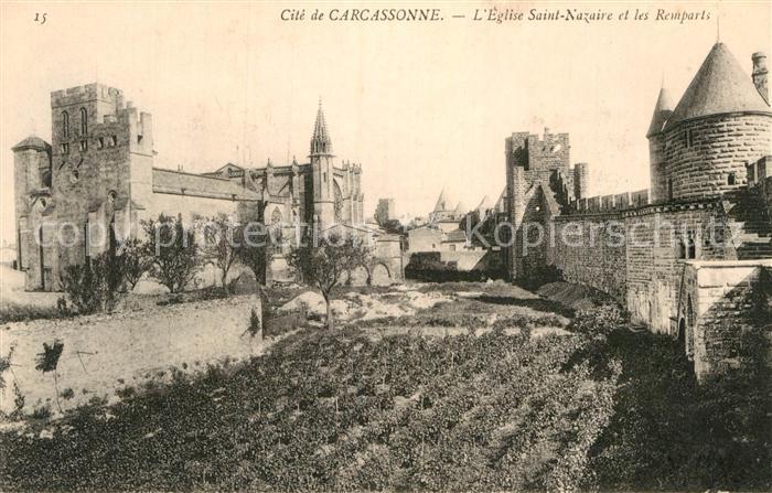 AK / Ansichtskarte Carcassonne Eglise Saint Nazaire et les Remparts  Kat. Carcassonne