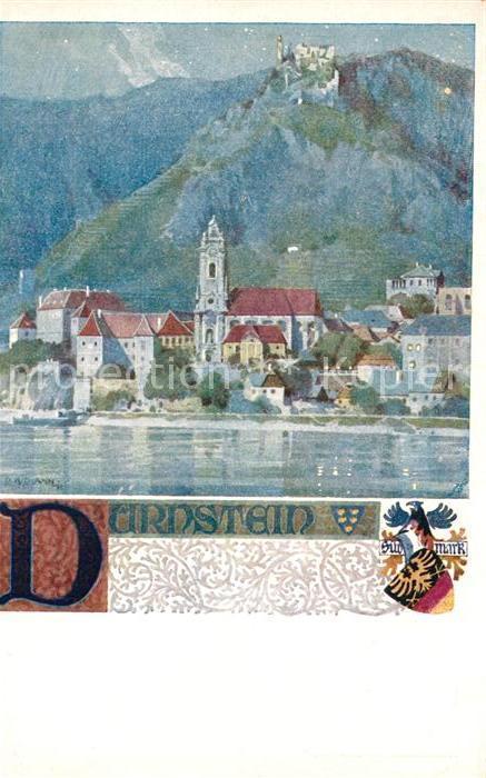 Wachau Karte Donau.Ak Ansichtskarte Duernstein Wachau Blick Ueber Die Donau Kirche Schloss Wappen Kuenstlerkarte Verlag Des Vereins Suedmark Karte Nr 192 Kat