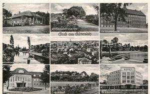 AK / Ansichtskarte Guetersloh Kurhaus Botanischer Garten Gymnasium Parkbad Botanischer Garten Bahnhof Kurpark Krankenhaus Kat. Guetersloh