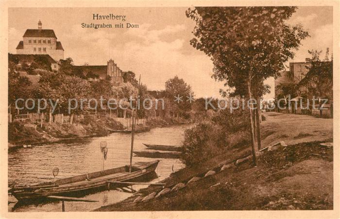 AK / Ansichtskarte Havelberg Stadtgraben mit Dom Kat. Havelberg