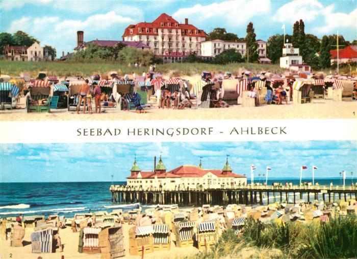 AK / Ansichtskarte Heringsdorf Ostseebad Usedom Strand Seebruecke Kat. Heringsdorf