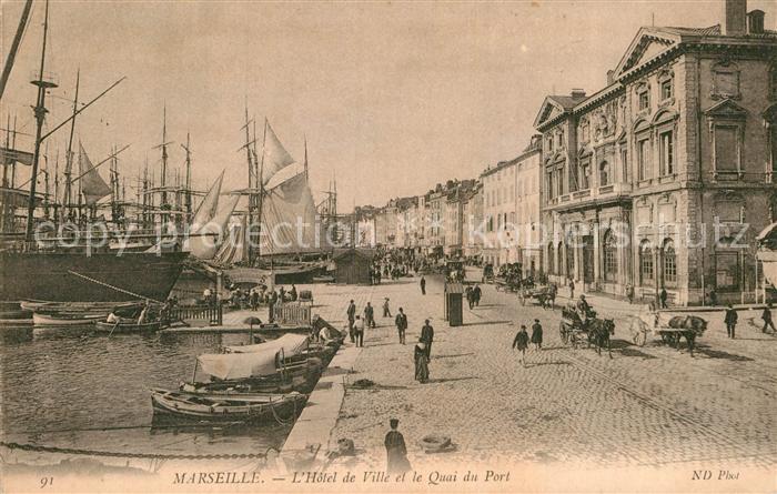 AK / Ansichtskarte Marseille Bouches du Rhone Hotel de Ville et Quai du Port