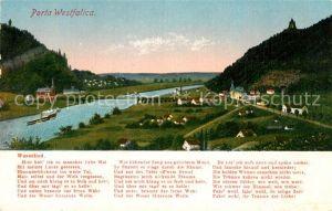 AK / Ansichtskarte Porta Westfalica Teilansicht mit Weserlied Kat. Porta Westfalica
