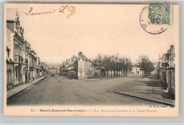 AK / Ansichtskarte Saint Amand Montrond Rue Benjamin Constant et le Cours Fleurus Kat. Saint Amand Montrond