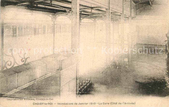 AK / Ansichtskarte Choisy le Roi Inondations de Janvier 1910 La Gare Hochwasser Katastrophe Kat. Choisy le Roi