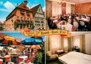 AK / Ansichtskarte Rothenburg Tauber Hotel garni Cafe Hans Karl Frei Gaststube Terrasse Gaestezimmer Kat. Rothenburg ob der Tauber