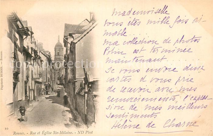 AK / Ansichtskarte Rennes Rue et Eglise Ste Melaine Kat. Rennes