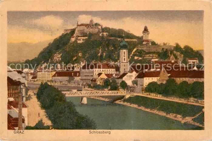 AK / Ansichtskarte Graz Steiermark Mur Bruecke Blick zum Schlossberg Kat. Graz