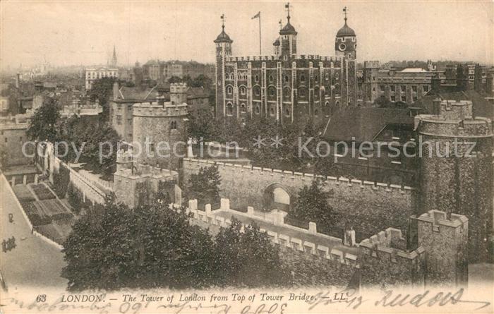 AK / Ansichtskarte London Tower of London from top of Tower Bridge Kat. City of London