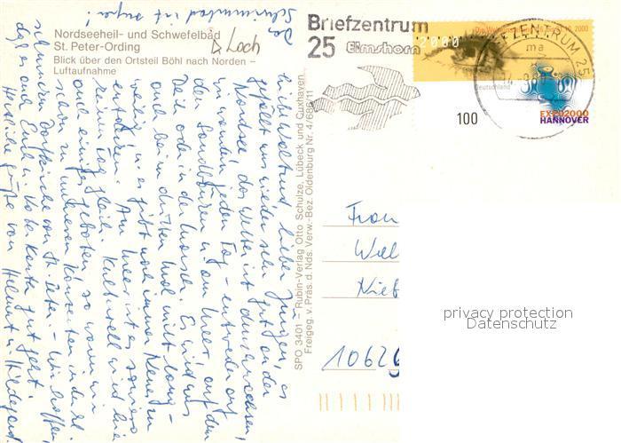 Sankt Peter Ording Karte.Ak Ansichtskarte St Peter Ording Ot Boehl Fliegeraufnahme Kat Sankt Peter Ording