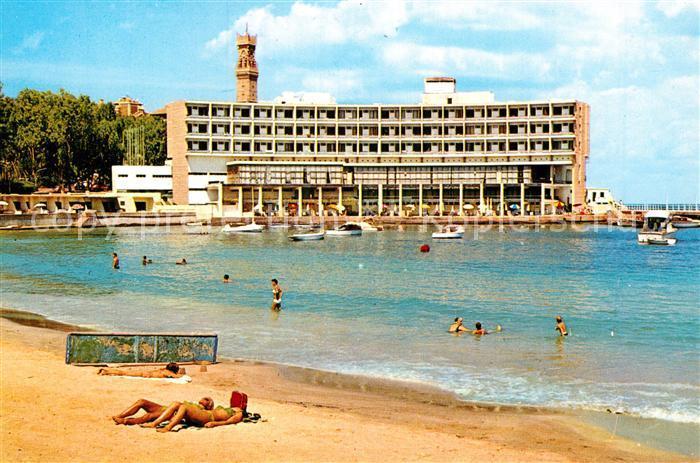 AK / Ansichtskarte Alexandria Alexandrie Aegypten Palestine Hotel Strandpartie Kat. Alexandria