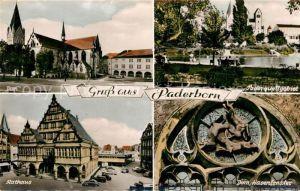 AK / Ansichtskarte Paderborn Dom Paderquellgebiet Rathaus Dom Hasenfenster Kat. Paderborn