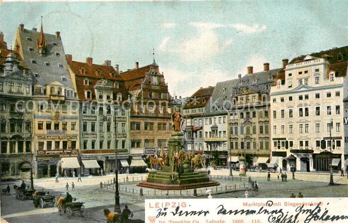 AK / Ansichtskarte Leipzig Marktplatz mit Siegesdenkmal Kat. Leipzig