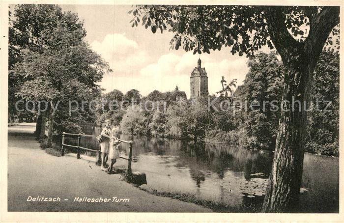 AK / Ansichtskarte Delitzsch Hallescher Turm Partie am Fluss Kat. Delitzsch