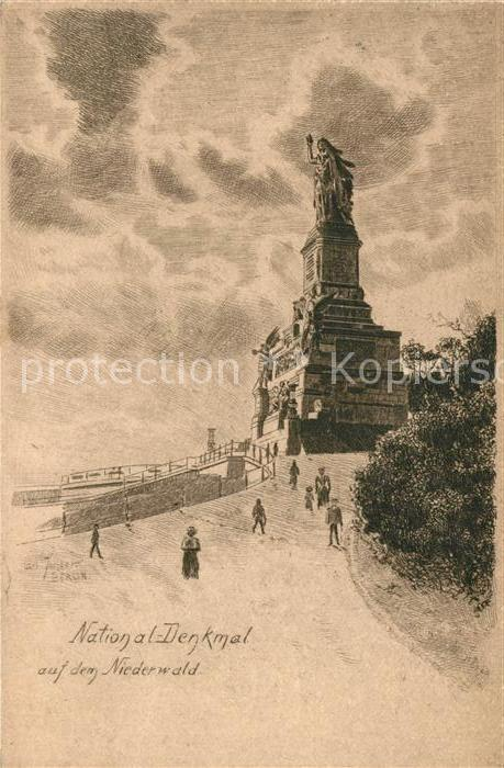 AK / Ansichtskarte Ruedesheim Rhein Nationaldenkmal auf dem Niederwald Kat. Ruedesheim am Rhein