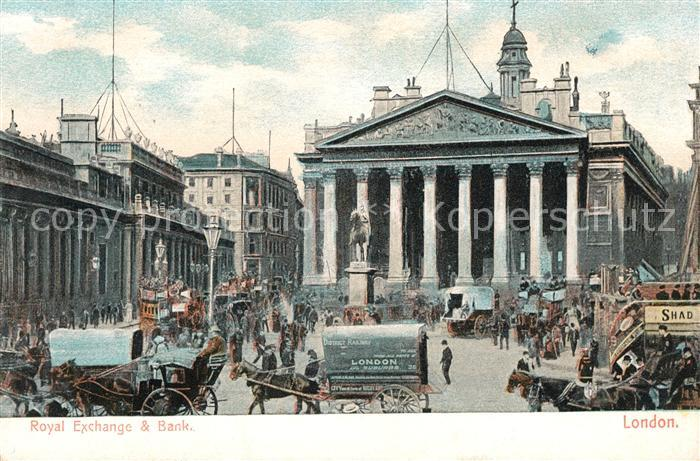AK / Ansichtskarte London Royal Exchange and Bank of England Monument Kat. City of London