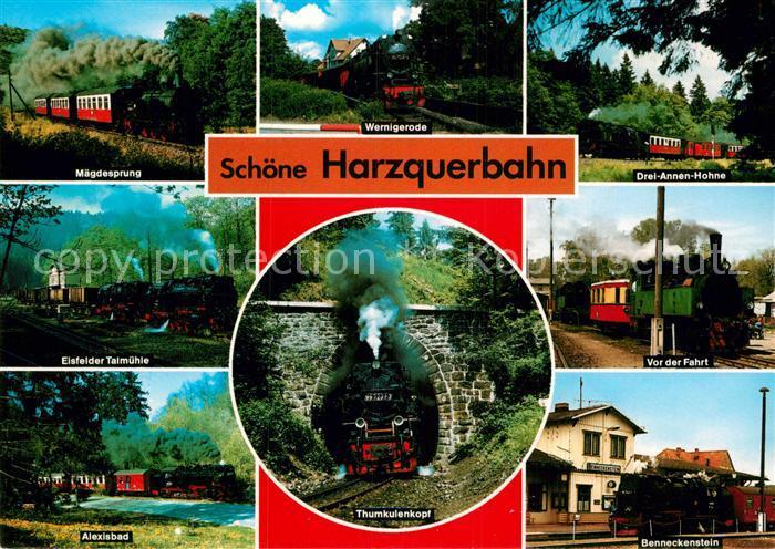 AK / Ansichtskarte Harzbahn Harzquerbahn mit Maegdesprung Eisfelder Talmuehle Alexisbad Thumkulenkopf Drei Annen Hoehne Bennekenstein Kat. Bergbahn