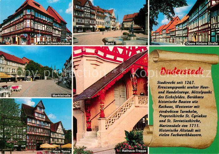 AK / Ansichtskarte Duderstadt Alte Fachwerkhaeuser Markt Obere Hintere Strasse Marktstrasse Haus Tanne Rathaustreppe Kat. Duderstadt