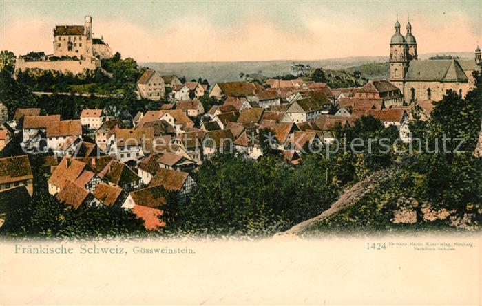 AK / Ansichtskarte Goessweinstein Ortsansicht mit Kirche und Schloss Kat. Goessweinstein