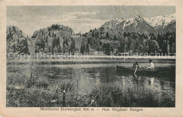 AK / Ansichtskarte Freibergsee Waldhotel Ruderboot Allgaeuer Berge Kat. Oberstdorf