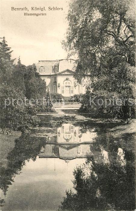 AK / Ansichtskarte Benrath Koenigliches Schloss Blumengarten Teich Wasserspiegelung Kat. Duesseldorf