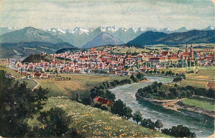 AK / Ansichtskarte Kempten Allgaeu Gesamtansicht mit Alpenpanorama Kuenstlerkarte Kat. Kempten (Allgaeu)