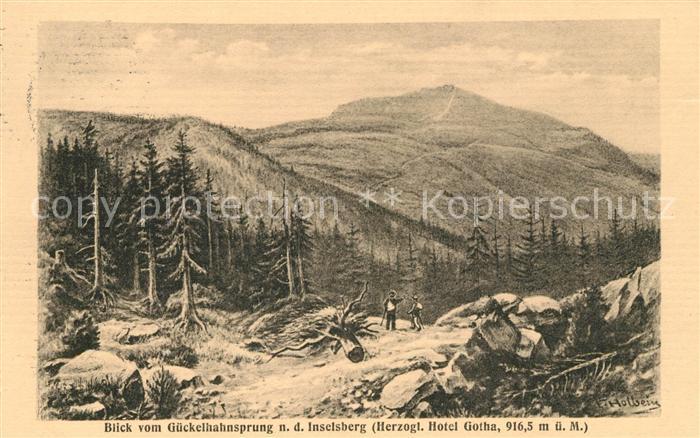 AK / Ansichtskarte Inselsberg Schmalkalden Panorama Blick vom Gueckelhahnsprung Kuenstlerkarte Kat. Schmalkalden