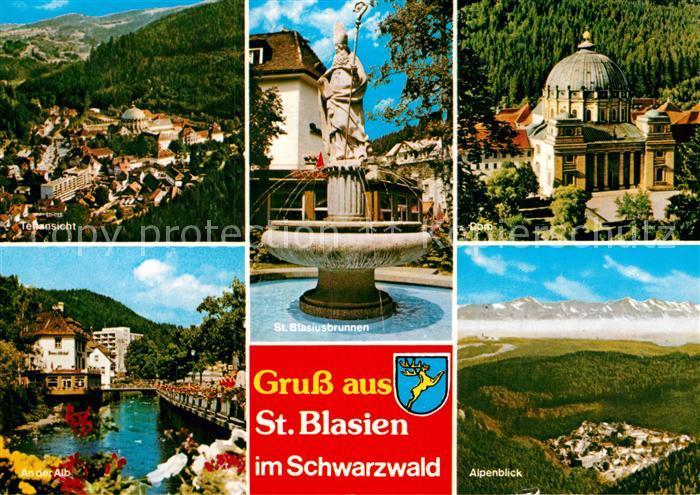 AK / Ansichtskarte St Blasien An der Alb Alpenblick Sankt Blasiusbrunnen Sankt Blasiuskirche Kat. St. Blasien