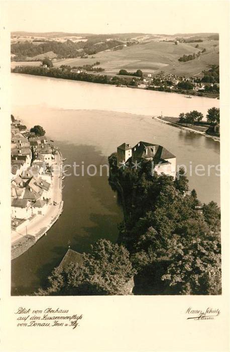 AK / Ansichtskarte Passau Blick vom Oberhaus auf Zusammenfluss von Donau Inn und Ilz Kat. Passau