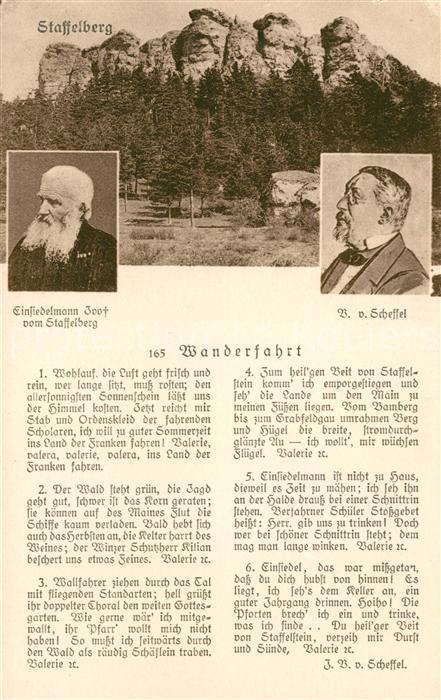 AK / Ansichtskarte Staffelberg Gedicht Wanderfahrt Scheffel  Kat. Bad Staffelstein