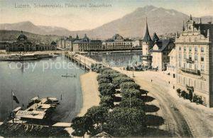 AK / Ansichtskarte Luzern LU Schwanenplatz Vierwaldstaettersee Pilatus und Stauserhorn Kat. Luzern