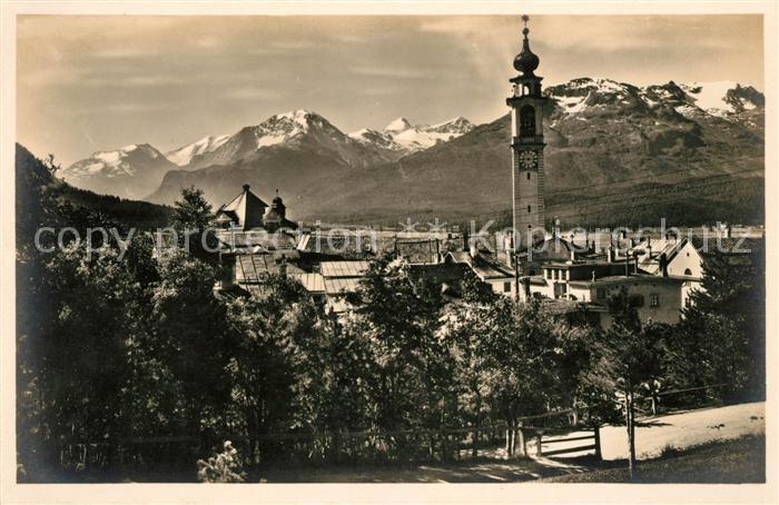 AK / Ansichtskarte Samaden Ortsansicht mit Kirche Berninagruppe Kat. Maloja