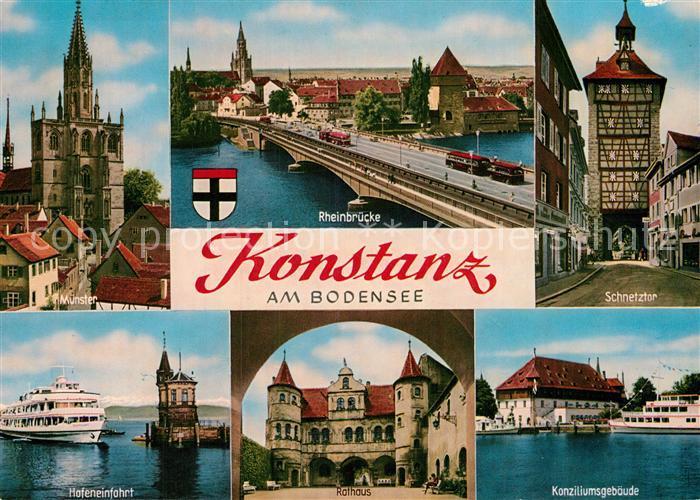 AK / Ansichtskarte Konstanz Bodensee Rheinbruecke Schnetztor Muenster Konziliumsgebaeude Rathaus Kat. Konstanz