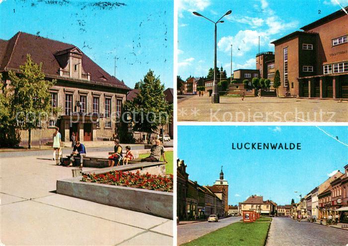 AK / Ansichtskarte Luckenwalde Bahnhof Stadttheater Ernst Thaelmann Strasse Kat. Luckenwalde