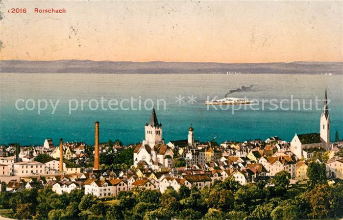 AK / Ansichtskarte Rorschach Bodensee Ortsansicht mit Kirchen Seeblick Dampfer Kat. Rorschach