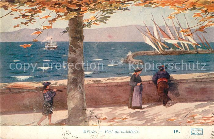 AK / Ansichtskarte Evian les Bains Haute Savoie Port de batellerie Kuenstlerkarte Kat. Evian les Bains