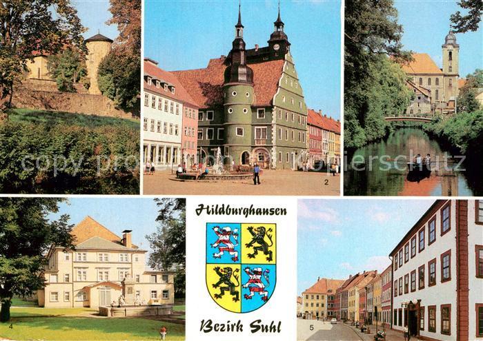AK / Ansichtskarte Hildburghausen An der Stadtmauer Rathaus Am Friedenspark Stadttheater Marx Engels Platz Kat. Hildburghausen