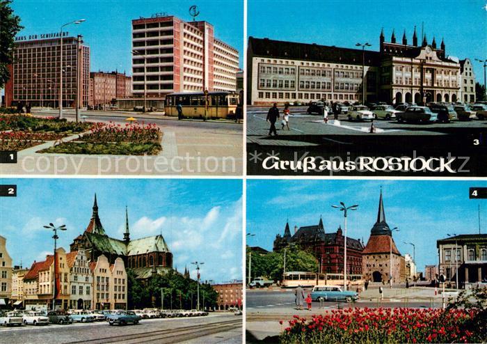 AK / Ansichtskarte Rostock Mecklenburg Vorpommern Interhotel Warnow Ernst Thaelmann Platz Marienkirche Rathaus Karl Marx Platz mit Steintor Kat. Rostock