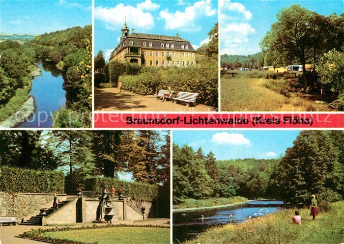 AK / Ansichtskarte Braunsdorf Lichtenwalde Zschopautal Schloss Lichtenwalde Campingplatz Schlosspark