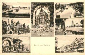 AK / Ansichtskarte Hameln Weser Weserbruecke Hochzeitshaus Kinder Auszug Rattenfaengerhaus Weserpartie Muenster Osterstrasse
